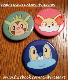 Gen 6 Starters Pinback Button Set by ChibiRoseArt.deviantart.com on @DeviantArt  On sale in my storenvy shop! Link is in my bio~