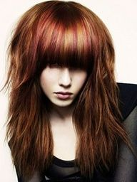 brown hair with red and gold highlights - Love the color!