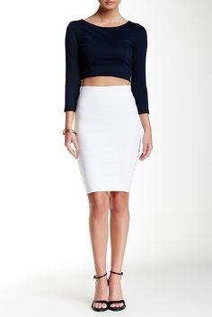 David Lerner Back Zipper Midi Skirt