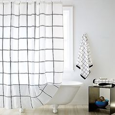 Update your bathroom with the contemporary Tompkins Square Shower Curtain from DKNY. This elegant, all-cotton curtain features a subtle black grid against a crisp white background and completes any bathroom décor. Black White Shower Curtain, Striped Shower Curtains, Bathroom Shower Curtains, Guest Bathrooms, Bathroom Kids, Laundry In Bathroom, Farmhouse Bathrooms, White Bathrooms, Tiny Bathrooms
