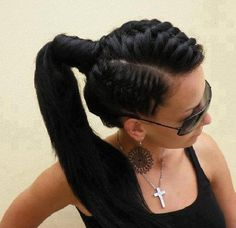PONYTAILS | Sophisticated ponytail hairstyle with front and side braids for formal ...