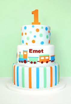 Orange, Blue, Green Train Cake 1st Birthday