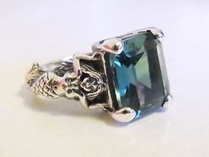 Mermaid Emerald Ring Sterling Silver Size 4.75/ Vintage Art Nouveau Deco