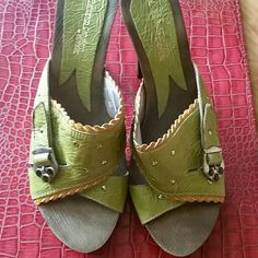 Green wooden heels Brand new. No box. The Euro size is 39 , but those fit size 8. Francesco Cabellero Shoes Heels