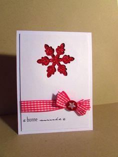 """Carte de voeux """"Etoile de Noël rouge scintillante"""" coloris blanc-rouge : Cartes par magy-carterie"""
