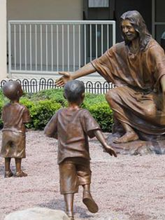 Bronze statues of Jesus, lifesize sculptures of Christ, Biblical monumental bronze sculptures, Jesus welcomes children statues, inspirational art, custom religious bronze monuments, liturgical statues, faith-based memorial bronze commissions, commission a church sculpture, prayer garden statues, inspirational monumental sculptures