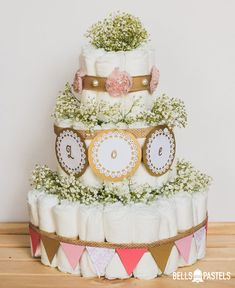 Shabby Chic Baby Girl Diaper Cake Rustic Girly by BellsAndPastels Perfect baby shower accent or gift! Baby Cakes, Baby Shower Cakes, Baby Shower Prizes, Baby Shower Favors, Diaper Crafts, Diy Diaper Cake, Baby Shower Vintage, Floral Baby Shower, Shabby Chic Baby