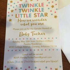 Elizabeth Tucker added a photo of their purchase Twinkle Twinkle Little Star, Gender Reveal, Baby Shower Invitations, Rsvp, Prints, Shower Invitation, Printmaking, Baby Sprinkle Invitations