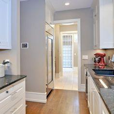 white kitchen, black granite, gray walls - Google Search