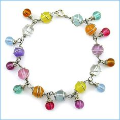 Free Beaded Jewelry Patterns - Colorful Wire Wrapped Bracelet