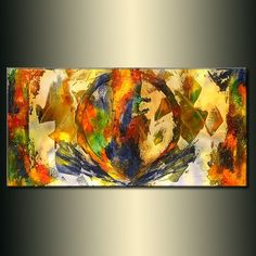 Original Textured Modern Large Abstract Thick Texture Gallery Canvas Contemporary Fine Art By Henry Parsinia 48x24