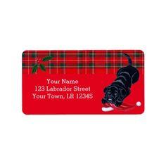 Black #Labrador Puppy with Santa Hat #Christmas Address Labels