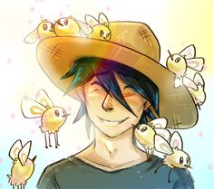 """Cutiefly Swarm """"Myriads of Cutiefly flutter above the heads of people who have auras resembling those of flowers."""" Pokémon Moon"""