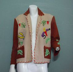 Details about Vintage Mexican Tourist Jacket Coat Horses Novelty Wool… Vintage Coat, Vintage Clothing, Vintage Outfits, Embroidered Clothes, Embroidered Jacket, Mexican Style, Crafty Projects, Western Wear, Fasion