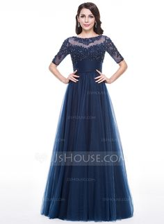 A-Line/Princess Scoop Neck Floor-Length Tulle Evening Dress With Ruffle Beading Appliques Lace Sequins (017056630)