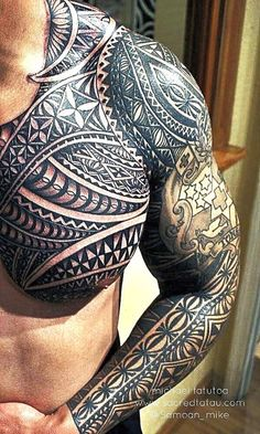 Best Tribal Tattoo Designs With Color - Best Tribal Tattoos For Men: Cool Tribal Tattoo Designs + Ideas For Guys Tribal Tattoo Designs, Hawaiian Tribal Tattoos, Polynesian Tattoo Designs, Tribal Tattoos For Men, Tribal Sleeve Tattoos, Best Sleeve Tattoos, Tattoo Designs And Meanings, Tattoo Sleeve Designs, Tattoos For Guys