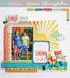 Layout from A Perfect Summer Collection by designer Susan Stringfellow. #echoparkpaper