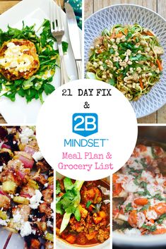 2B Mindset Meal Plan & Grocery List   21 Day Fix No Yellow Meal Plan & Grocery List