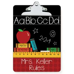 Teachers Rule Personalized Clipboard by Personalized Planet Clipboard Crafts, Teacher Clipboard, Teacher Signs, Teacher Stuff, Teacher Cards, Teachers' Day, Teacher Appreciation Week, Scrapbooking, Diy Gifts