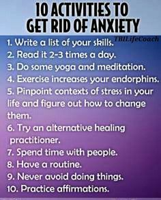 "Tips to reduce anxiety (I do not like how the infographic says ""get rid of"" anxiety)"
