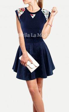 Women's Round Collar Lace Shoulder Sleeveless Slim Mini Dress