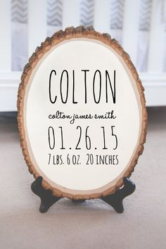 This unique, genuine wood slice features an ivory background with birth stats in black or navy! It will arrive sealed with a matte finish for protection and ready to hang! A very thoughtful gift for new parents that will compliment any nursery decor!  ►Size: Approx. 10 inches wide and will range from 12-14 inches in height.  ►Please include the following information in the notes to seller section during checkout: 1. First Name or Nick Name 2. Full Name OR just Middle and Last Name 3. Birth…