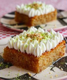 One of Turkish sweet, called kadayıf with cream Yogurt Cups, Desert Recipes, Food Design, Cheesecake, Vitamin D, Food And Drink, Cooking Recipes, Yummy Food, Ethnic Recipes