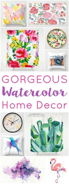 Gorgeous Watercolor Home Decor - Love watercolor? You'll be smitten with these gorgeous watercolor home decor items – pillows, clocks, bedding, shower curtains, rugs, art prints and more! - Happiness is Homemade