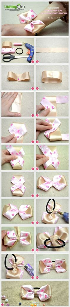How to make hair bows seems like a challenging DIY project to take on. Hair bows make great hair accessories. Making Hair Bows, Diy Hair Bows, Diy Bow, Diy Ribbon, Ribbon Crafts, Ribbon Bows, Diy Crafts, How To Make Hair, How To Make Bows