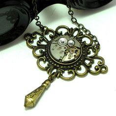 Neo Victorian Steampunk OOAK Necklace Vintage by mysticpieces