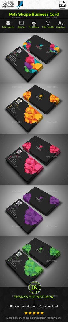 Poly Shape Business Card Template PSD. Download here: http://graphicriver.net/item/poly-shape-business-card/15677151?ref=ksioks