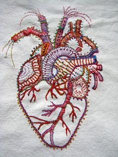 Artist:Carla Madrigal Really awesome hand embroidered heart. I want this on a - Weird Shirts - Ideas of Weird Shirts - Artist:Carla Madrigal Really awesome hand embroidered heart. I want this on a pillow Embroidery Designs, Diy Embroidery, Cross Stitch Embroidery, Machine Embroidery, Embroidery Digitizing, Tumblr Embroidery, Embroidery Tattoo, Wedding Embroidery, Embroidery Sampler