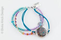 Multi string bracelet handmade cabuchon beaded by ElviraKrick, now on Etsy #LoveEtsyNL