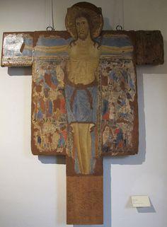 Maestro senese di inizio duecento (Maestro di Tressa?) - Crocifisso ( da S. Chiara) - 1225-1250 - Pinacoteca Nazionale di Siena (Toscana)