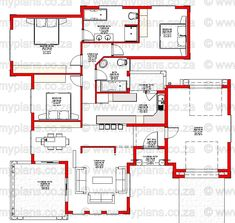 3 Bedroom House Plans - My Building Plans Tuscan House Plans, Modern House Plans, Modern House Design, Home Design Floor Plans, House Floor Plans, Double Storey House Plans, House Plans South Africa, Circle House, 5 Bedroom House Plans