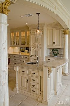 European Kitchen decor, Kitchen designs, Kitchen decorating- by D'aslessio- glass cabinets, thru bar to the dining room?, make the bar regular chair height, natural wood cabinets with same details?