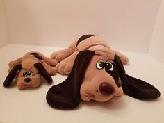 "Pound Puppies Tonka 18"" Large Collar & 7"" Small Brown Plush Dog Spots 1985/1986"