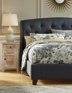 "With a sleek contemporary low profile design fully upholstered in a rich woven fabric, the ""Upholstered bed"" collection offers a variety of looks that will comfortably fit into any bedroom decor to create a stylish inviting atmosphere."