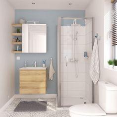 Meuble de salle de bains Plan vasque REZO IPOMA Chêne Naturel 2 tiroirs Côtés blancs L60,5 x H71,5 x P40,5 cm - Oskab Alcove, Basement, Bathtub, Thoughts, Cabinet, Studio, Bathroom, Storage, Furniture