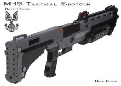 """We've already seen that LEGO modeler Nick Jensen not only loves Halo but is very good with expressing that love in the medium of life-size models of weaponry. Now, he turns his attention to his favorite gun in the Halo games: The M45 Tactical Shotgun. His model, in addition to being human-sized, has a working trigger, moving slide, and a mechanism to eject LEGO ammo """"shells."""""""