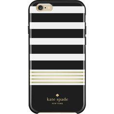 kate spade new york - Hybrid Hardshell Case for Apple® iPhone® 6 & 6s - Stripe 2 Black/White/Gold Foil, KSIPH-011-STRBWGF