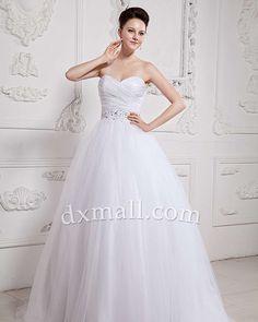 Drop Waist Wedding Dresses Sweetheart Court Train Netting Satin White 01001070014