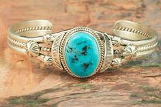 Native American Jewelry  Genuine Sleeping Beauty Turquoise set in Sterling Silver Bracelet. Created by Navajo Artist John Nelson.