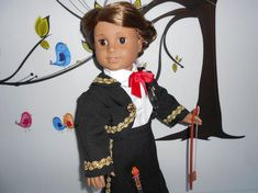 Mariachi charra suit traje black gabardine gold trim fits 18 in like American Girl doll Folklorico Dresses, Mariachi Suit, Boy Doll, American Girl, Dress Up, Suits, Crochet, Fitness, Gold