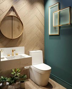 We shares powder room design and decorating ideas in every style, including vanities, sinks, mirrors, decor and more. 10 Gorgeous and Modern Powder Room Design Ideas Bathroom Tub Shower, Wood Bathroom, Bathroom Colors, Bathroom Interior, Bathroom Lighting, Bathroom Ideas, Shower Tiles, Bathroom Small, Bathroom Pink