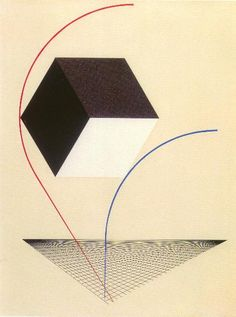 "El Lissitzky, A Proun, c.1925. Commenting on Proun in 1921, Lissitzky stated, ""We brought the canvas into circles . . . and while we turn, we raise ourselves into the space."". Gjenskrev Malevich Suprematisme ved å inkorporere relativitet. Han var spesielt influert av måten tre romdimensjoner var kombinert med tid i en firedimensjonal rom-tid, slik Minkowski hadde demonstrert i 1907."