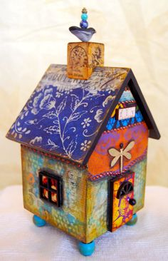 mixed media house by MJ Chadbourne