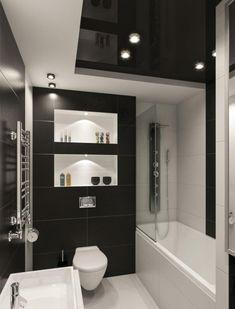 Hochwertig Kleines Badezimmer Fliesen Ideen Schwarz Weiss Kombination Matt