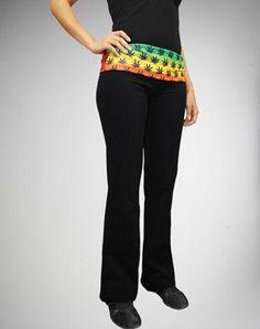 Rasta Leaf Waist Yoga Pants from Spencers Gifts. Shop more products from Spencers Gifts on Wanelo.
