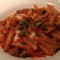 Penne Toscane - pasta, sausage, roasted eggplant, crushed tomato sauce, basil, and melted mozzarella #fornobistro